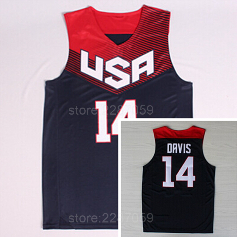 9df9817bbd2e Ediwallen Men Basketball 2014 USA Jerseys Dream Team Eleven American 14  Anthony Davis Jersey Cheap Navy
