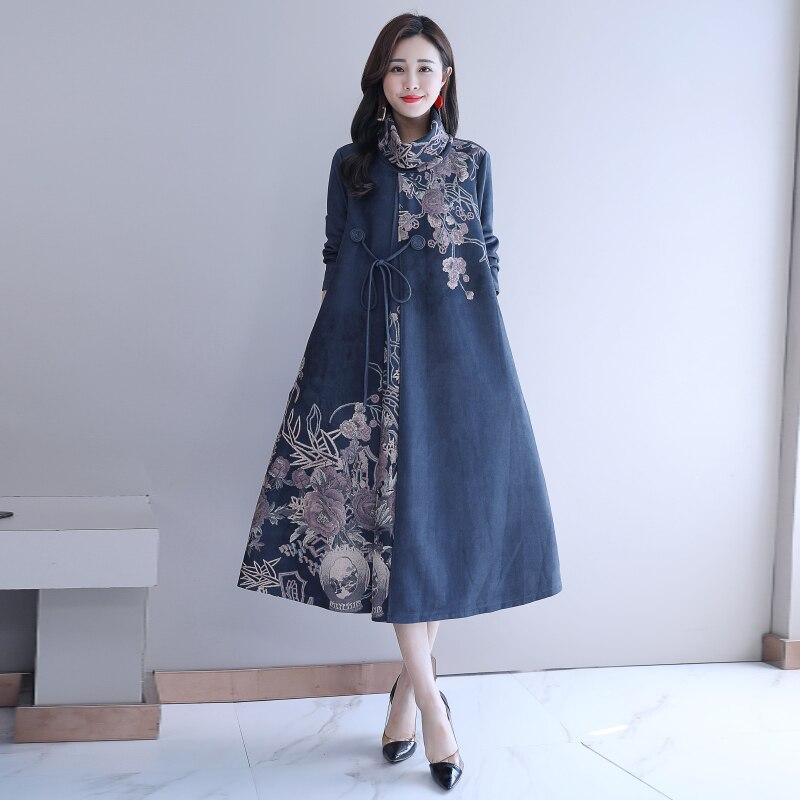 Automne hiver femmes Robe Vintage col roulé à manches longues Floral imprimé dames décontracté lâche Robe robes robes grande taille 5XL