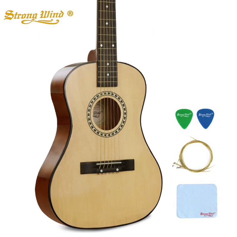 Strong Wind 34 Inch Acoustic Guitar Folk Guitar For Beginner Student Unisex Gitar 6 Steel Strings High Quality Full Accessories 38 inch folk guitar to send full color gifts string linden wood guitar six strings with free shipping