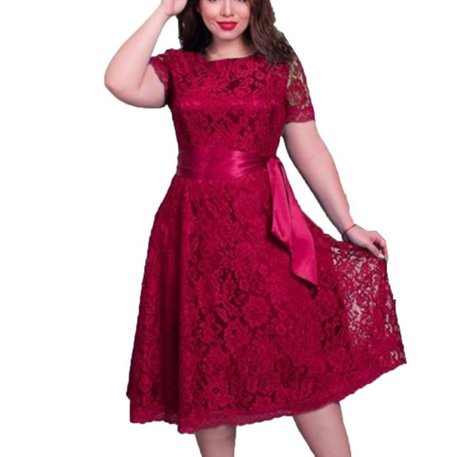 2018 Summer Women Short Sleeve Lace Dress Fit And Flare Solid Regular Empire O Neck Lace Sashes Dresses Plus Size 6XL