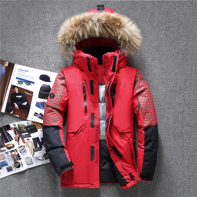 Winter Men Thick White Down Jacket With Hood Detached Warm Waterproof Fur Collar Outwear Casual Duck Down Jacket For -35 Degrees