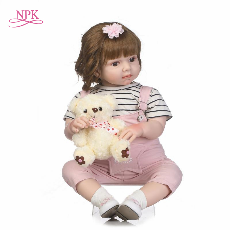 NPK New arrival Handmade Silicone vinyl adorable Lifelike toddler Baby Bonecas girl kid bebe doll reborn