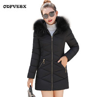 Fashion large size winter cotton jacket female 2020 long sleeved slim cotton coat hooded fur collar women's down jacket ODFVEBX
