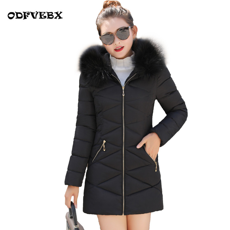 Fashion large size winter cotton jacket female 2020 long-sleeved slim cotton coat hooded fur collar women's down jacket ODFVEBX