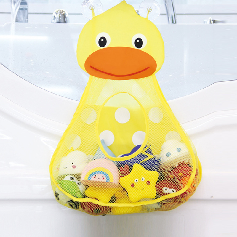 Baby Bathtub Toy Mesh Duck Storage Bag Organizer Holder Bathroom Folding Mesh Storage Toy For Children Baby Gift