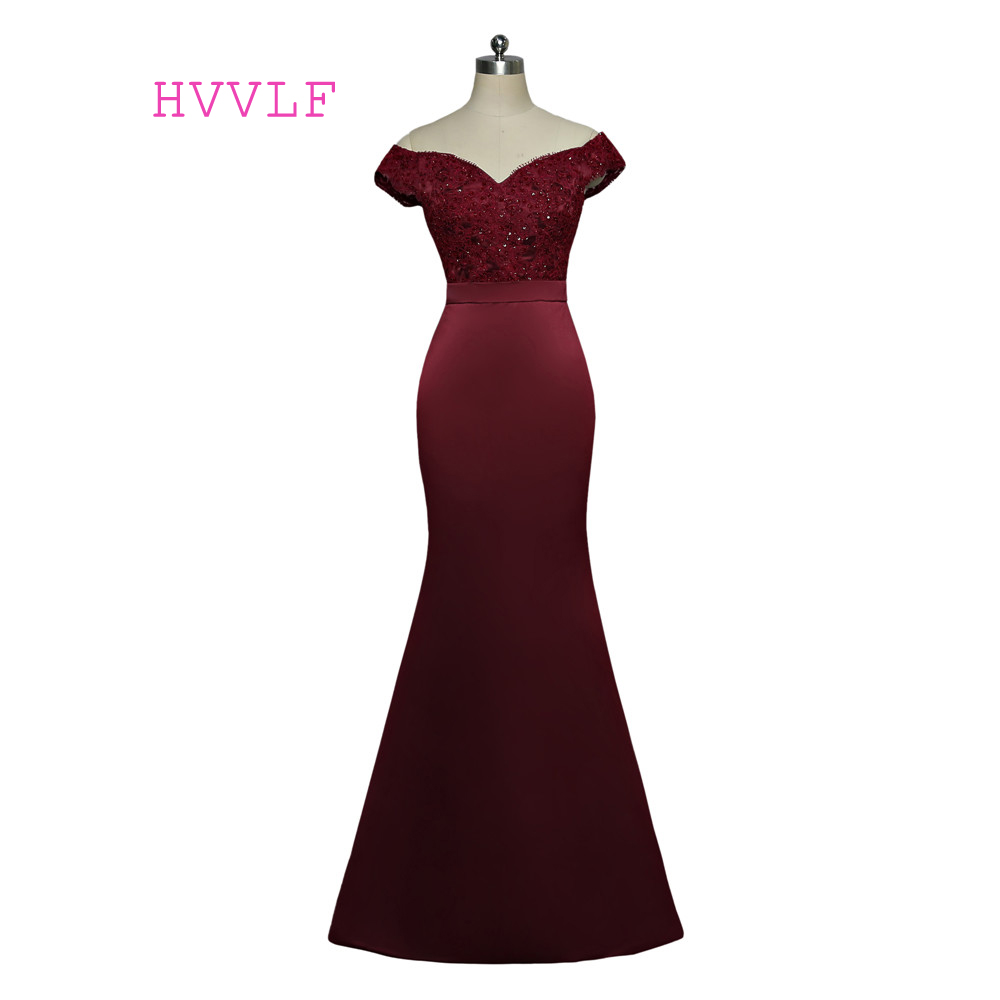 Burgundy 2018 Cheap Bridesmaid Dresses Under 50 Mermaid Sweetheart Cap Sleeves Beaded Long Wedding Party Dresses