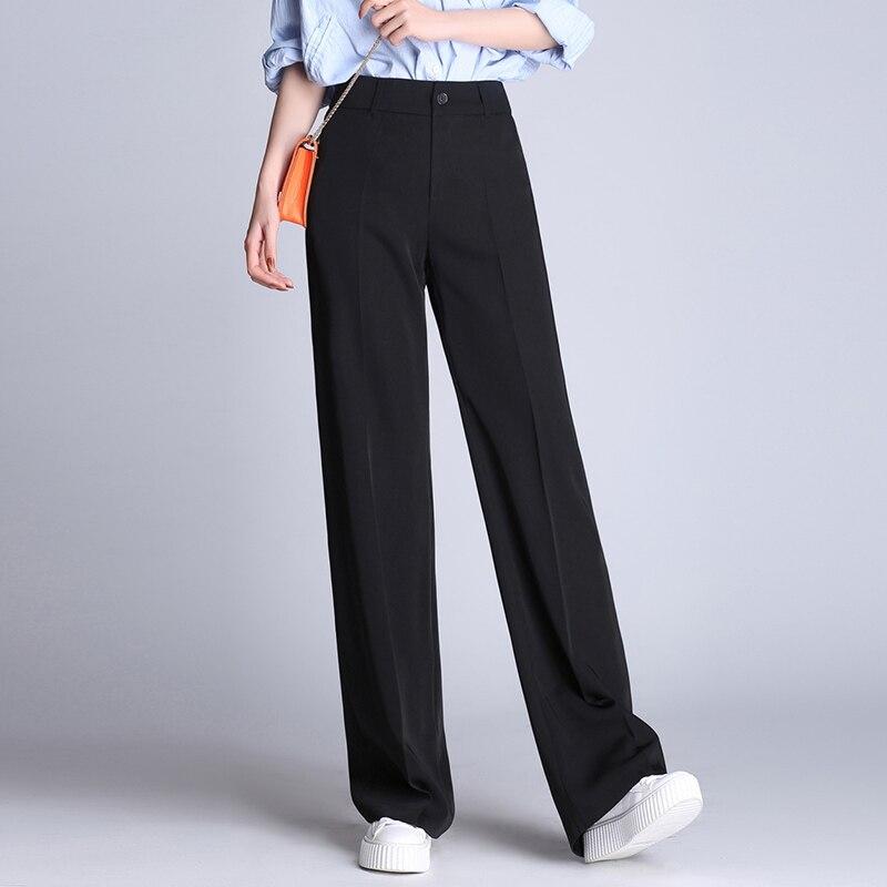 Soperwillton 2018 New Straight Pants High Waist Slim Fit Wide Leg