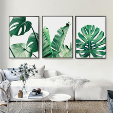 Canvas Minimalism Wall Bedroom Decoration Green Plant Nordic Simple Style Monstera Deliciosa Poster Combined For Gift