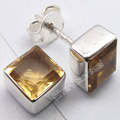 Silver Low Price CITRINE Square GEMSET MODERN UNISEX Studs Earrings 0.7 CM