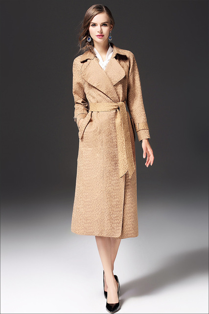 2017 mới thời trang nữ mùa thu áo dài áo gió đai màu rắn ve áo áo khoác da lộn mùa thu và mùa đông rãnh