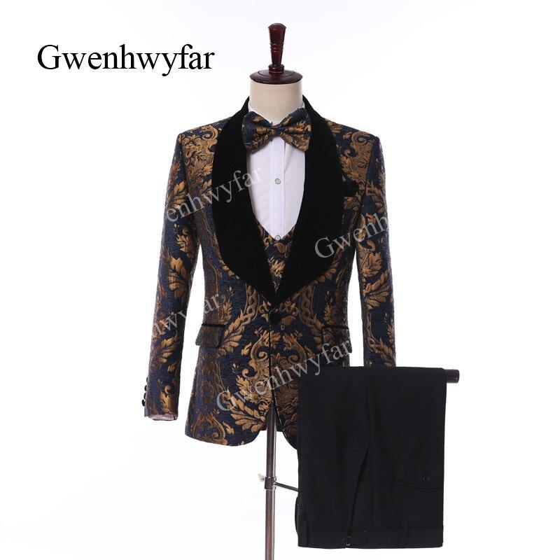 Erkek Kıyafeti'ten T. Elbise'de Gwenhwyfar Yüksek Kaliteli Donanma Kadife Erkek Takım Elbise Altın Desen 2019 Custom Made Siyah Yaka Damat Düğün Takım Elbise Terno Masculino'da  Grup 1