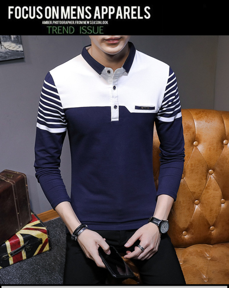 Business Casual Long Sleeve Men Polo Shirt Striped Autumn Winter Polos Cotton Slim Fit Camisa Polo Masculina 71