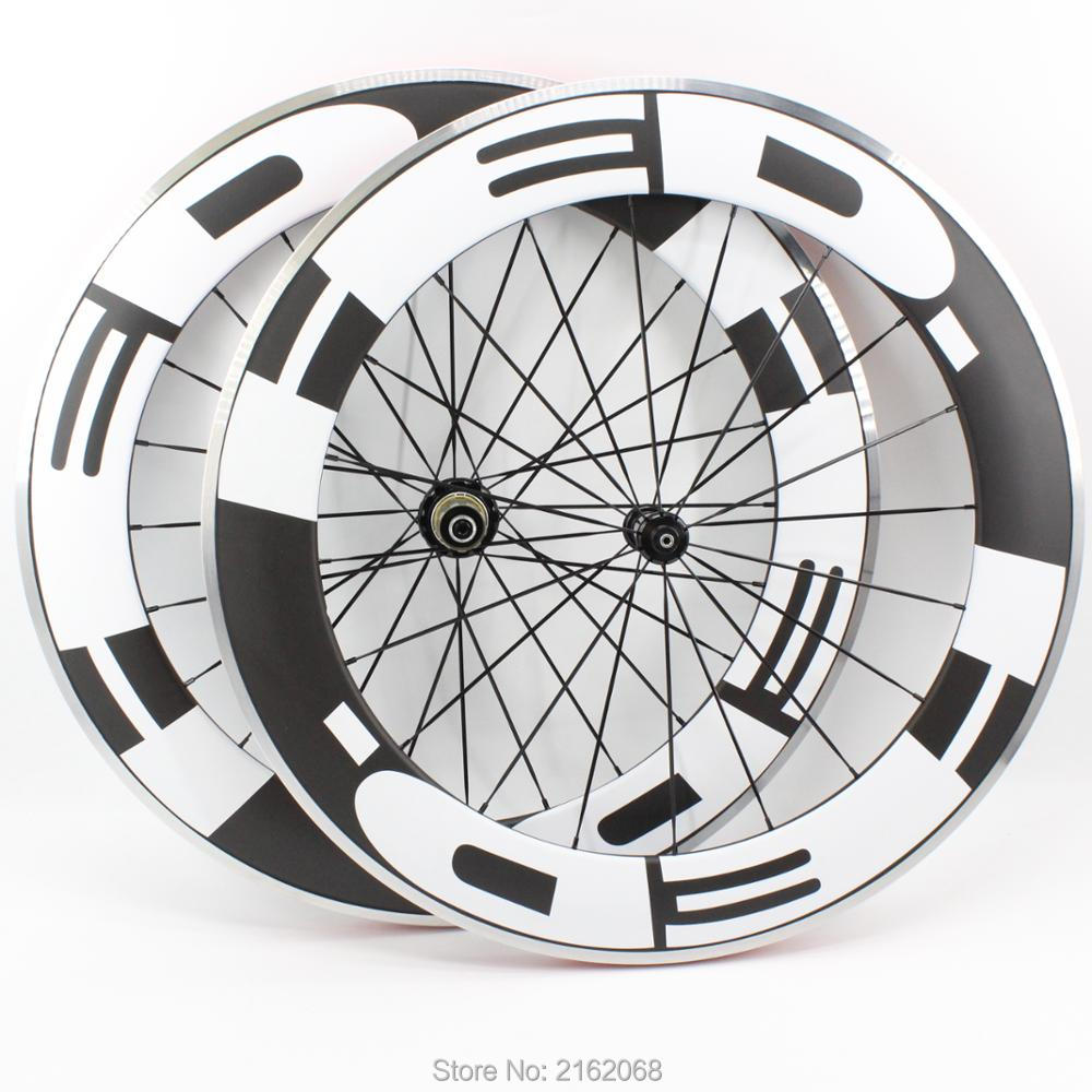 Brand New 700C 80mm Road bike matte UD carbon fibre bicycle wheelset carbon clincher rims with