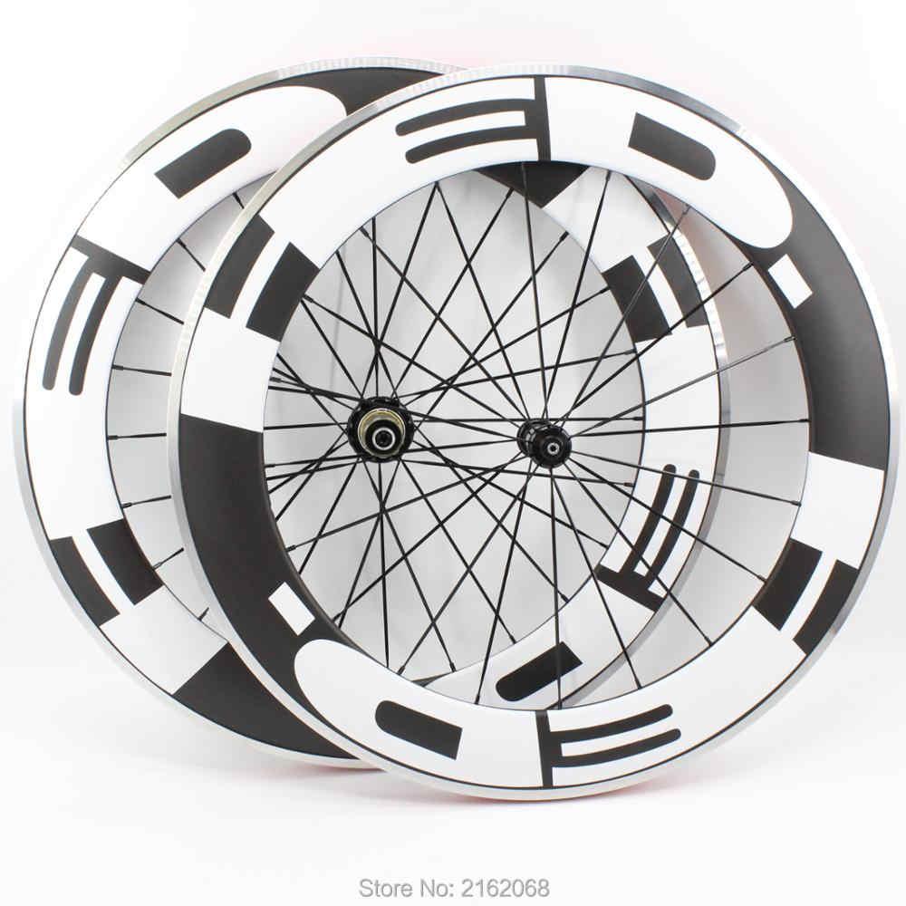 Tout nouveau 700C 80mm vélo de route mat UD fibre de carbone vélo roues carbone pneu jantes avec surface de frein en alliage livraison gratuite