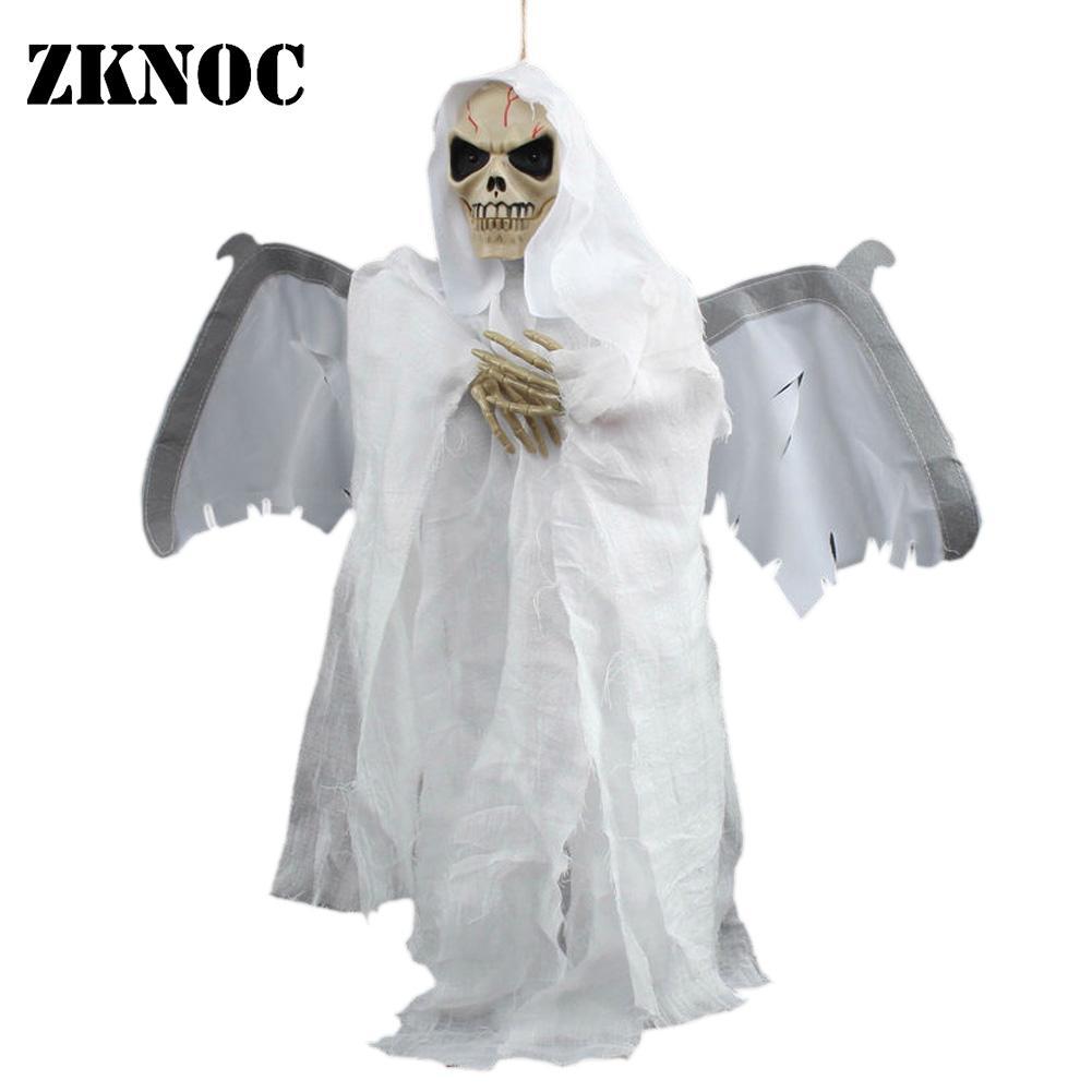 5 Eco Friendly Halloween Decoration Ideas: Cloth Skeleton Glowing Eye Sound Control Scary Animated