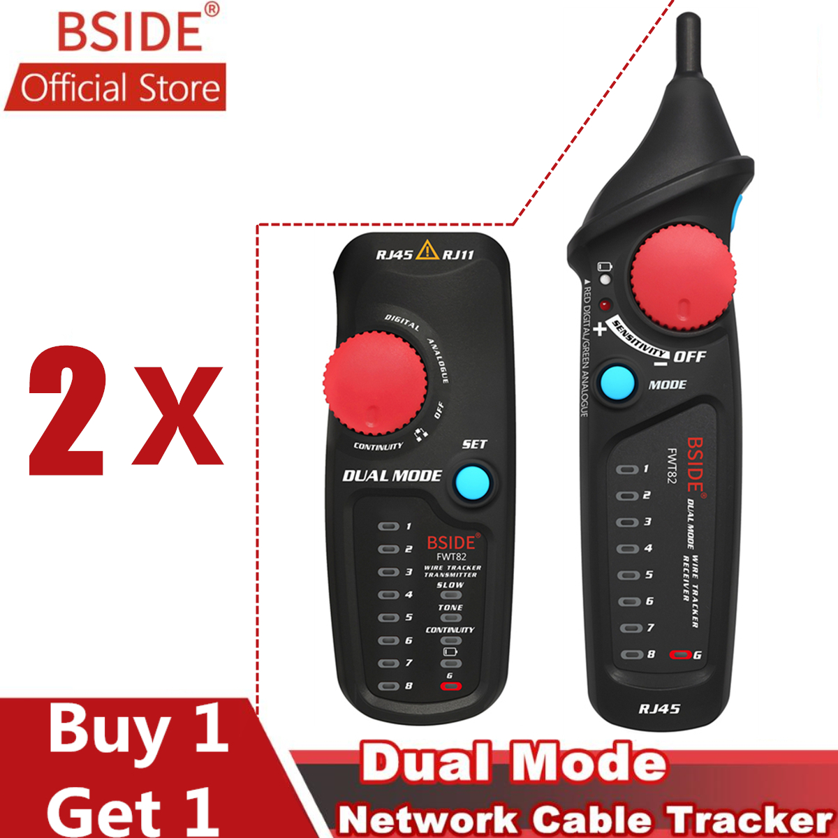 BSIDE FWT82 Dual Mode Network Cable Tracker RJ45 RJ11 Wire Toner Ethernet LAN Tracer Analyzer Detector Line Finder