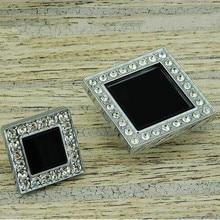 45mm modern fashion deluxe glass diamond drawer cabinet knobs pulls black crystal silver chrome dresser door