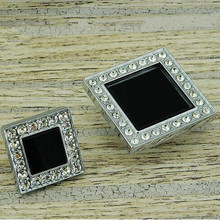 45mm modern fashion deluxe glass diamond drawer cabinet knobs pulls black crystal silver chrome dresser door handles pulls knobs