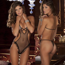 Sex Women Halter Perspective Prison Suits Gauze Sexy Lingerie Hot Underwear Backless Sleepwear Exotic Costume Babydolls D0215
