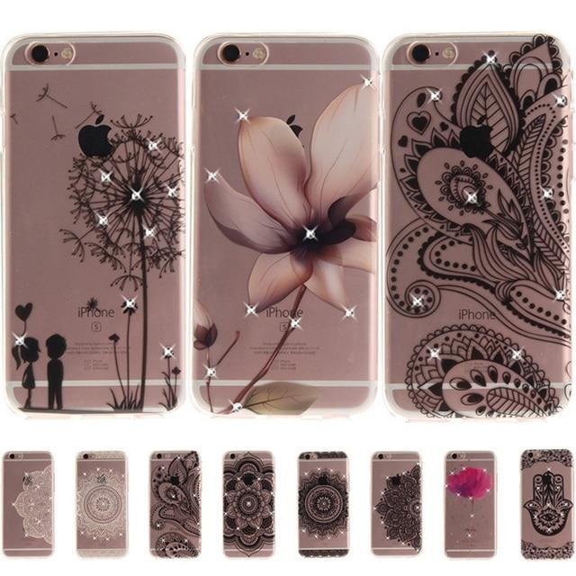 Rhinestone Coque Fundas For iphone 8 7 Plus 6 6s plus Girls Diamond Floral Mandala Flower Phone Cases For iphone X SE 5s 5 Cover