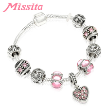 MISSITA Love Heart Series Fashion Bracelet with Pink CZ Cherry blossoms Beads Bangle for Women Jewelry Brand Anniversary Gift
