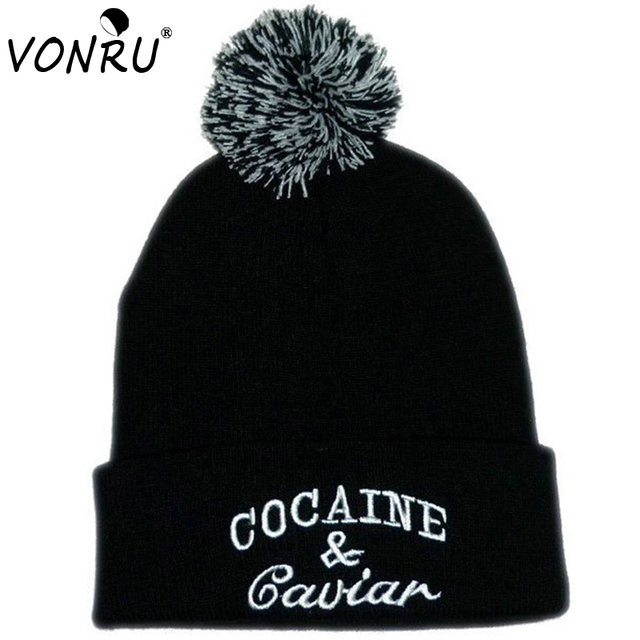 8cf17db207f New Style Cocain   Caviar Beanies with Ball Hip-Hop Cap Men Warm Knitted  Hats