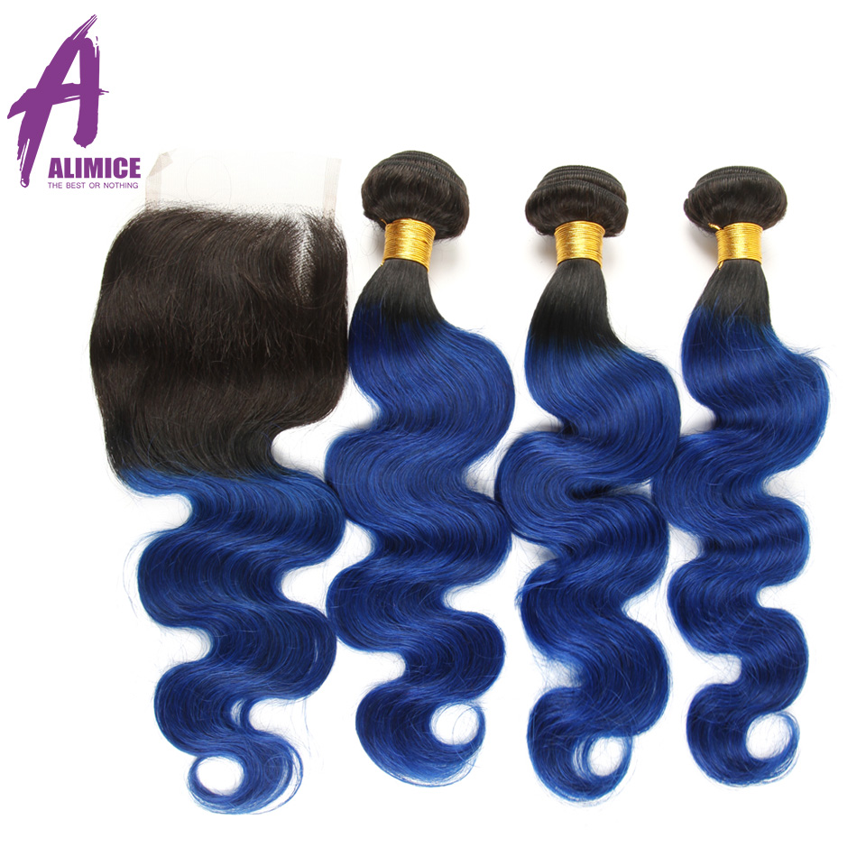 Hair Extensions & Wigs 3/4 Bundles With Closure Lovely Alimice Ombre Bundles With Closure T1b/blue Colored Two Tone Human Hair Brazilian Body Wave Hair 3 Bundles With Closure 4pcs/lot