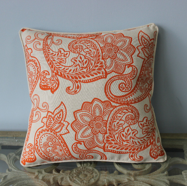VEZO HOME Vintage Paisley Cotton Linen Sofa Home Decorative Cushions Cover Throw  Pillows Cover Chair Seat