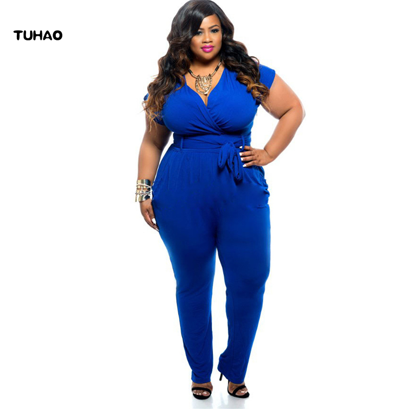 78d6ab2b289 TUHAO Office Lady Overalls 2018 Black Casual Plus Size 3XL 2XL Women s  Jumpsuits High Waist Loose