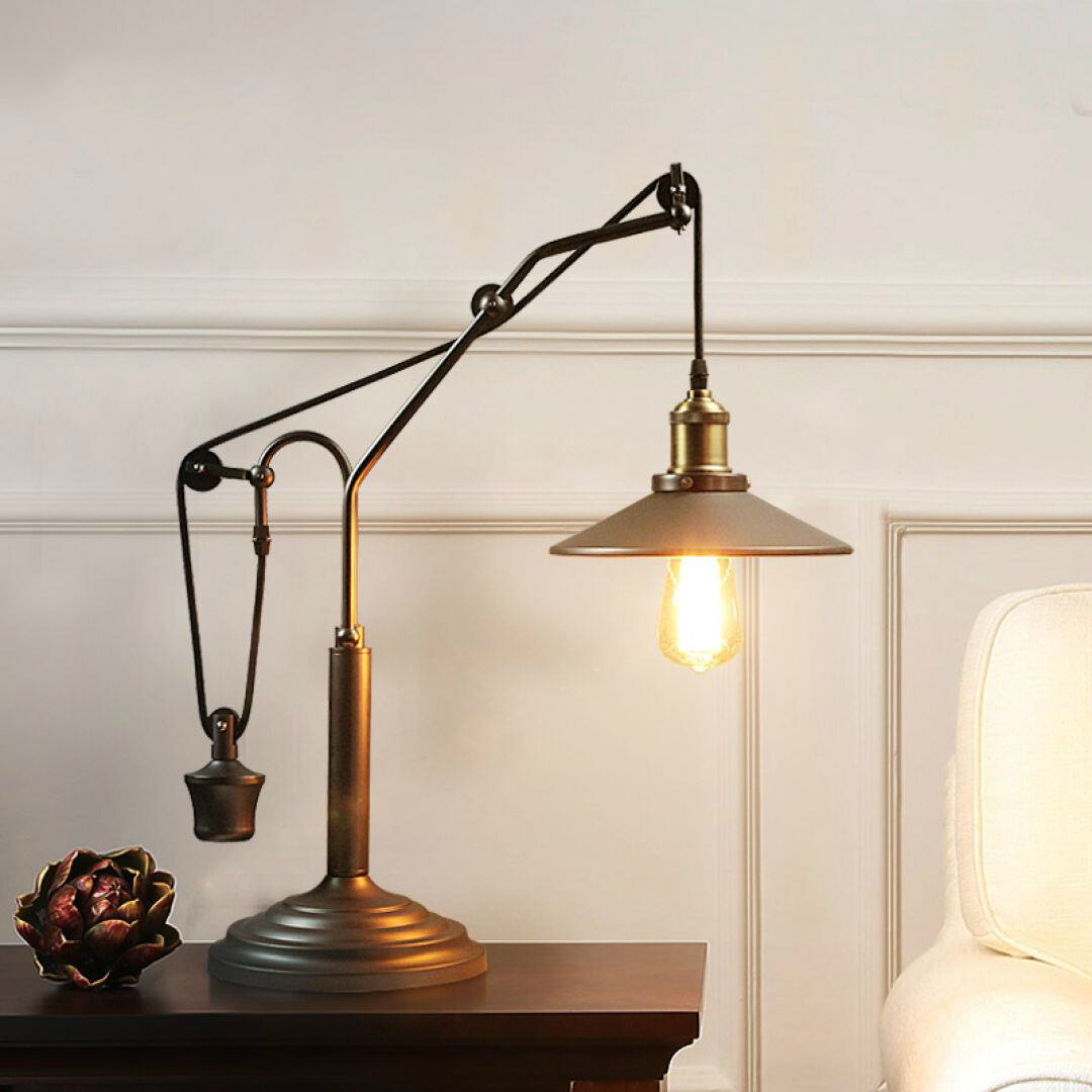 Roldana de ferro industrial país da América do vintage quarto lâmpada de mesa lâmpada de cabeceira