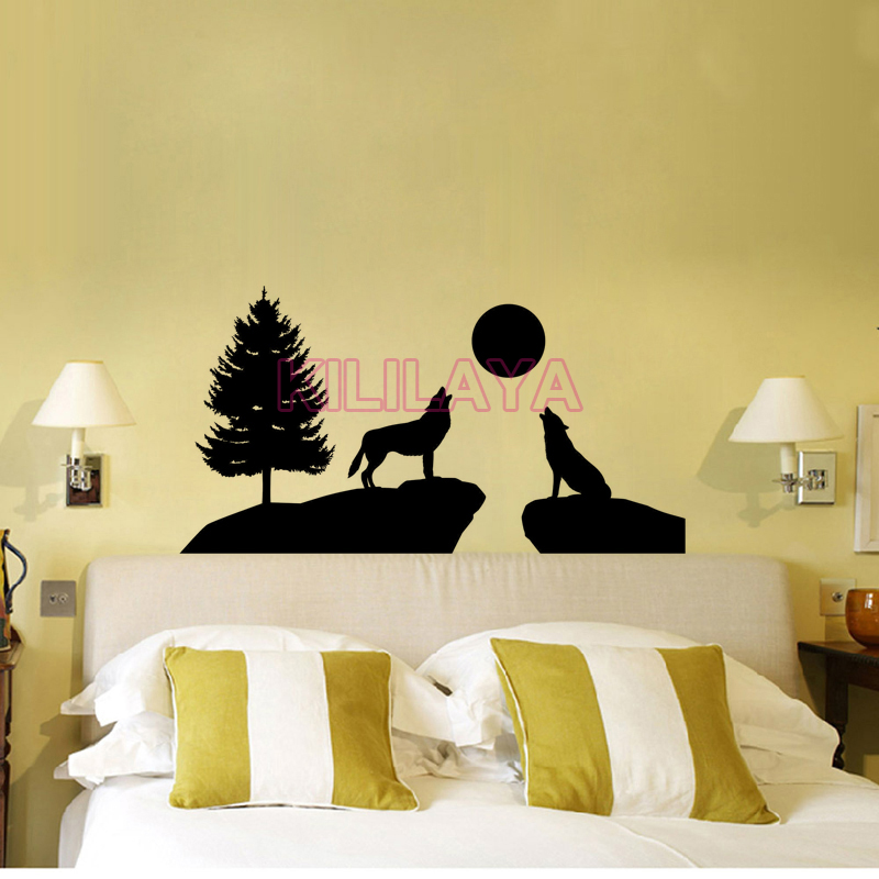 Forester Wolf Black Wall Sticker Picture Wallpaper for Living Room ...