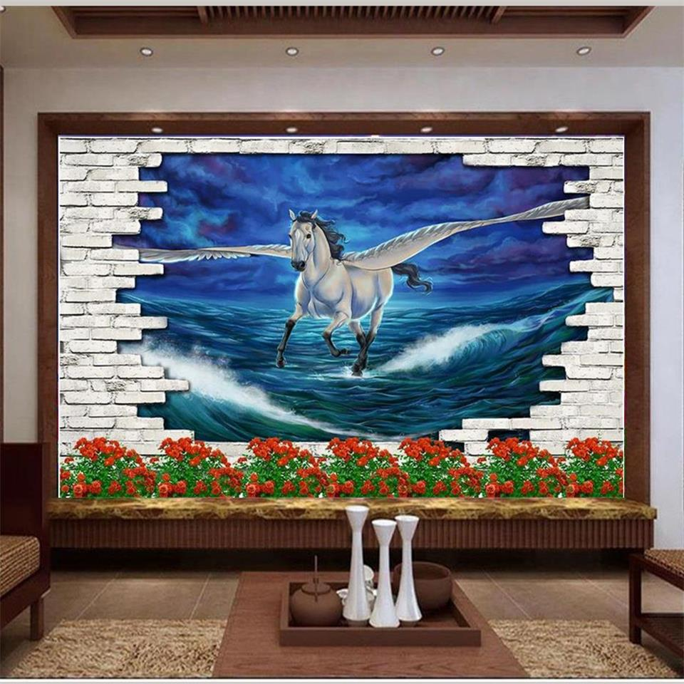 3d wallpaper photo wallpaper custom mural flying horse flowers sea sky decoration painting 3d wall murals wallpaper for walls 3d 3d wallpaper custom mural photo blue sky white sky hot air balloon lake decor painting 3d wall murals wall paper for walls 3 d