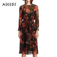 Vintage Floral Chiffon Long Sleeve Sexy Dress Women Two Piece Set Retro Patry Dresses Vestidos Plus