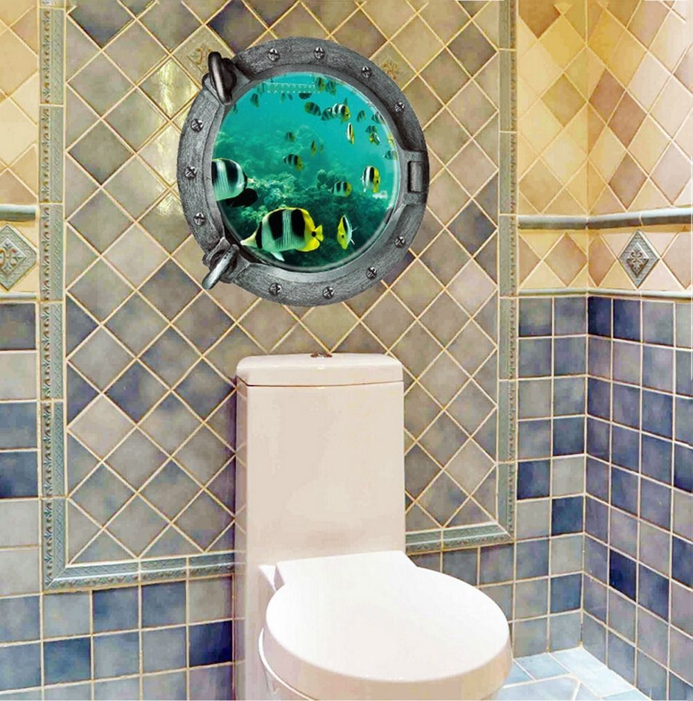 Bathroom wall art sea - 3d Ocean View Fish Window Wall Sticker Nursery Bathroom Decals Sea Portal Sea Cruise Wall Art