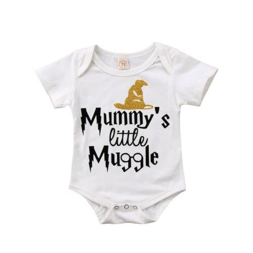 Newborn Infant Baby Boy Girl Short Sleeve Funny Letter Romper Jumpsuit Sunsuit Cotton Clothes