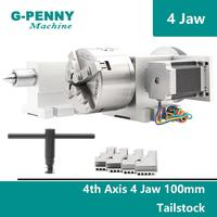 100mm 4 Jaw CNC 4th Axis+Tailstock CNC dividing head/Rotation Axis/A axis kit for Mini CNC router/engraver woodworking engraving