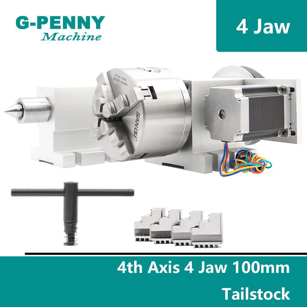 100mm 4 mâchoires CNC 4th axe + contre-poupée CNC tête de division/axe de Rotation/un kit d'axe pour Mini CNC routeur/graveur gravure sur bois