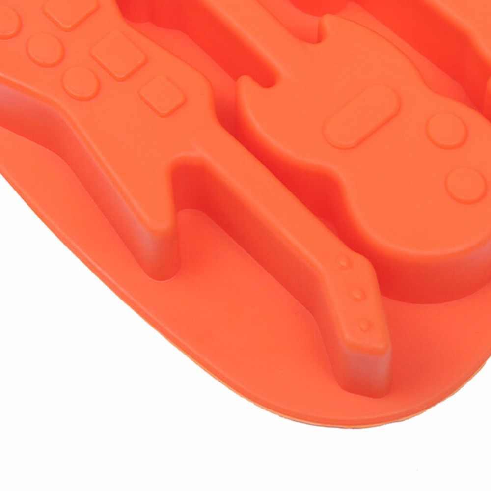 1 piezas de utensilios de cocina para hornear herramienta bajo la forma de la guitarra de silicona molde de Chocolate jabón pastel Decoración
