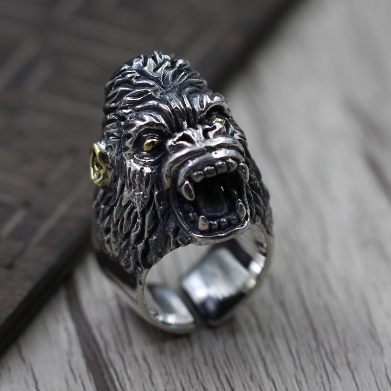 S925 silver jewelry silver ring retro mens domineering personality to create a scarlet ape rise opening ringS925 silver jewelry silver ring retro mens domineering personality to create a scarlet ape rise opening ring