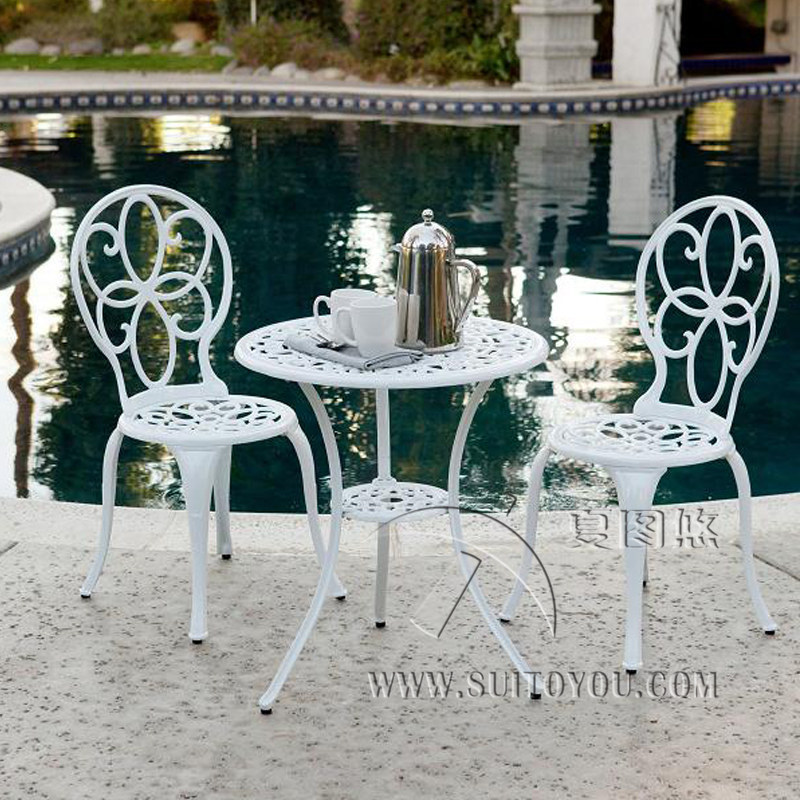 3-piece Copper Ring Cast Aluminum Garden Furniture Dining Set Outdoor,anti-rust ,chair With Table With Umbrella Hole