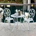 3-stück Kupfer ring cast aluminium garten möbel ess-set im freien  anti-rost  stuhl mit tisch mit regenschirm loch
