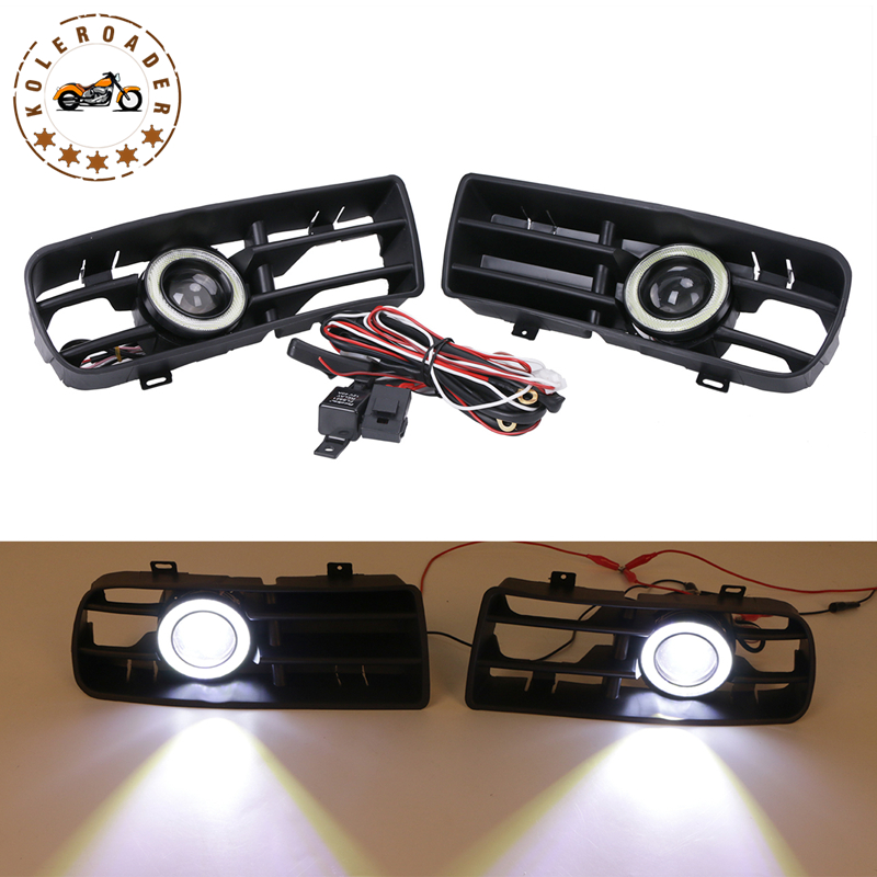 Front Bumper Grille LED Fog Lights with Angel Eyes Grill Cover DRL Foglight Kit For VW GOLF 4 GTI TDI R32 MK4 1998-2004 #9441 front bumper fog lamp grille led convex lens fog light angel eyes for vw polo 2001 2002 2003 2004 2005 drl car accessory p364