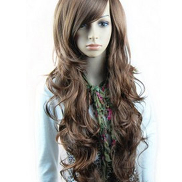 New Sexy Womens Girls Style Black Brown Wavy Curly Wigs Long Hair Human Full Wigs+1*Hairnet Synthetic Curly Wigs