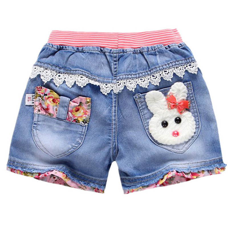 Girls Denim   Shorts   New Kids Summer   Shorts   Girls Jeans Lovely Cartoon Rabbit Printed Flowers Embroidery Jean   Short   Girls Clothing