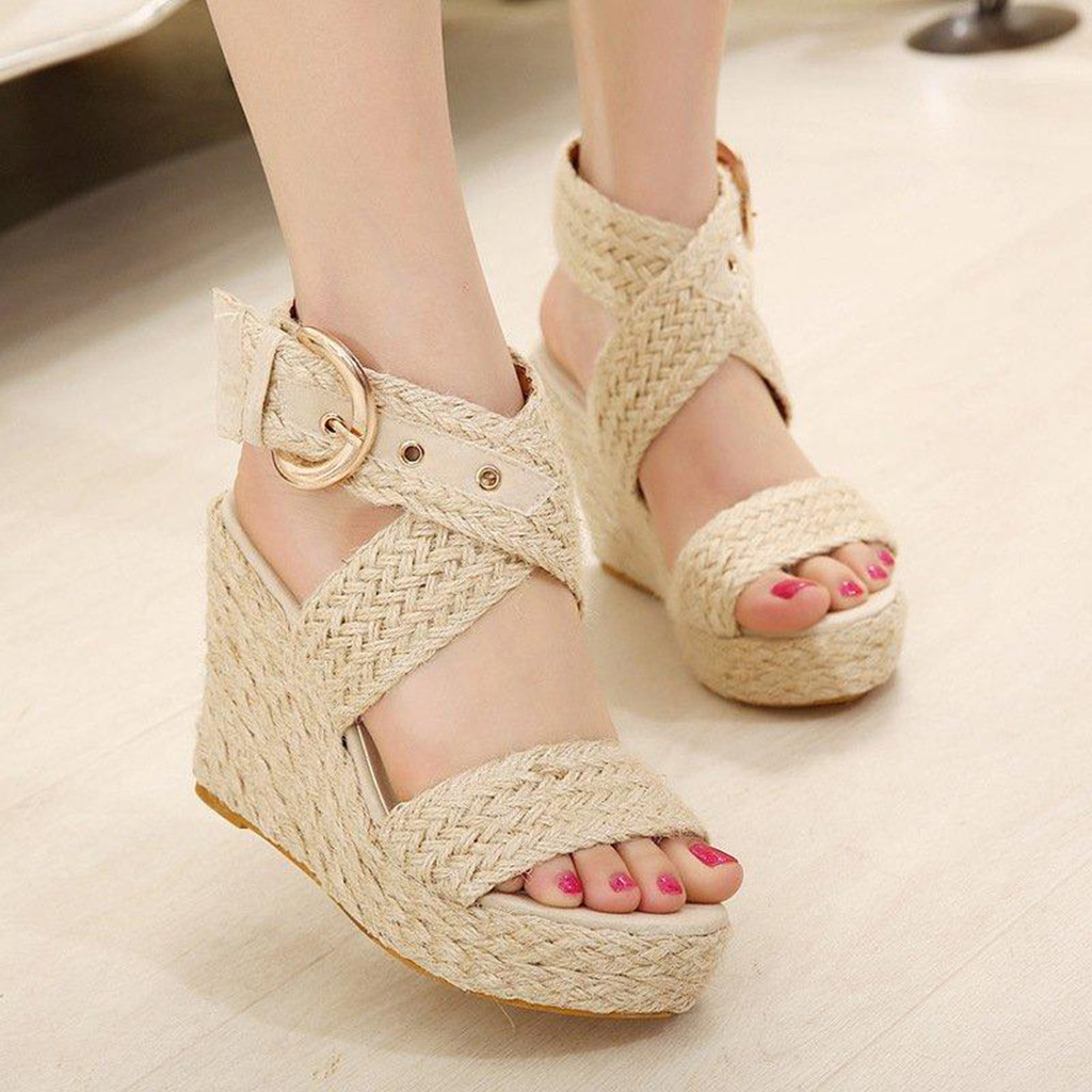 Wedges Sandals Roman-Shoes Size-Buckle Casual Summer Fashion Big -G35 Women Outside Sexy