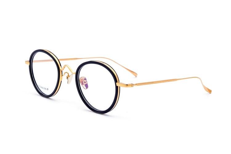 Pas allergique 100% réel titane pur lunettes cadre hommes femmes rond Vintage lunettes Prescription optique-lunetterie italie Design