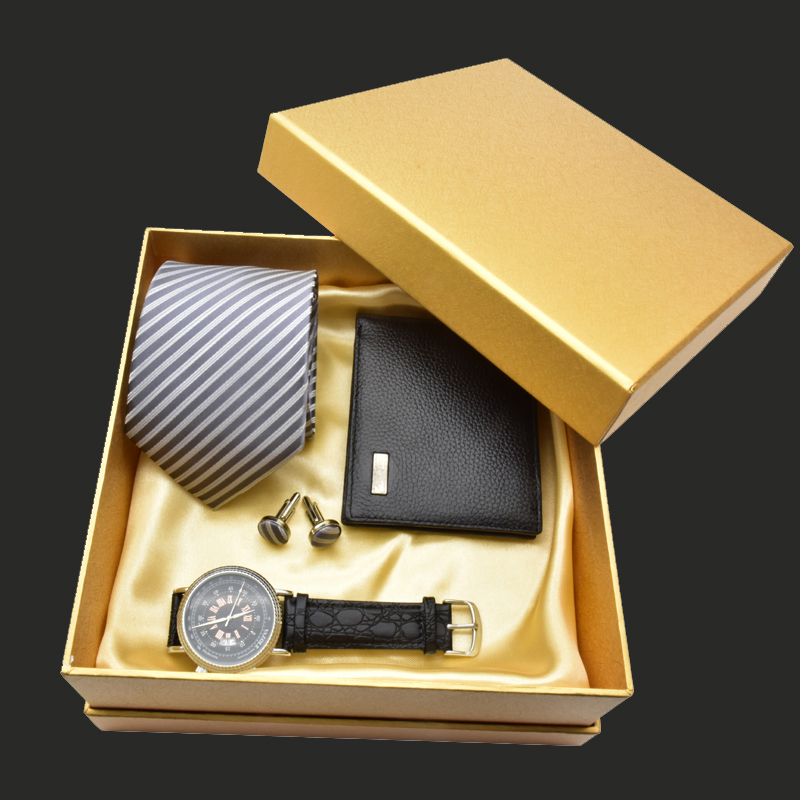 2018 Luxury Men Watch Gift Set Top Quality Tie Cufflinks Wallet Wrist Watch Classic Business Men Gift Set New Year Gift With Box high quality men s business gift set sunglasses belt boy birthday surprise quartz watch gift box new year s gift including box