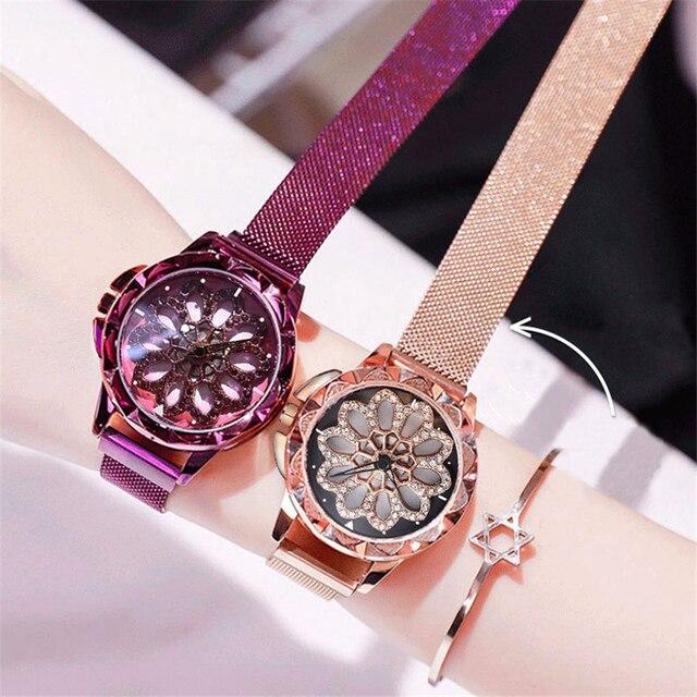 dca4f7d68f0d De diamantes de imitación lujo relojes para mujeres malla la banda imán  hebilla reloj cuarzo moda Casual mujer pulsera femenino