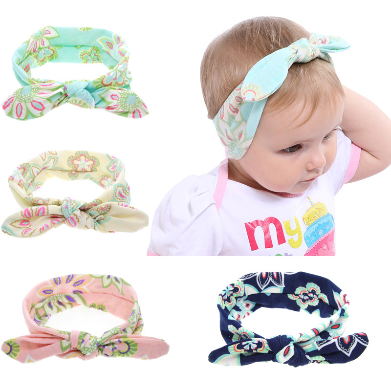 Girls Floral Bowknot Headbands Newborn Rabbit Ear Headband For Children Elastic Hair Bands Turban Headwear Babe Hair Accessories magic elacstic hair bands big rose decor elastic hairbands hair clips headwear barrette bowknot for women girls accessories