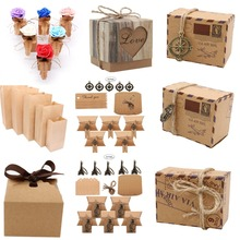10pcs New Kraft paper Wedding Vintage Candy Box Chocolate Paper Bags for Bread Wedding Favors and Gifts Bag Party Supplies